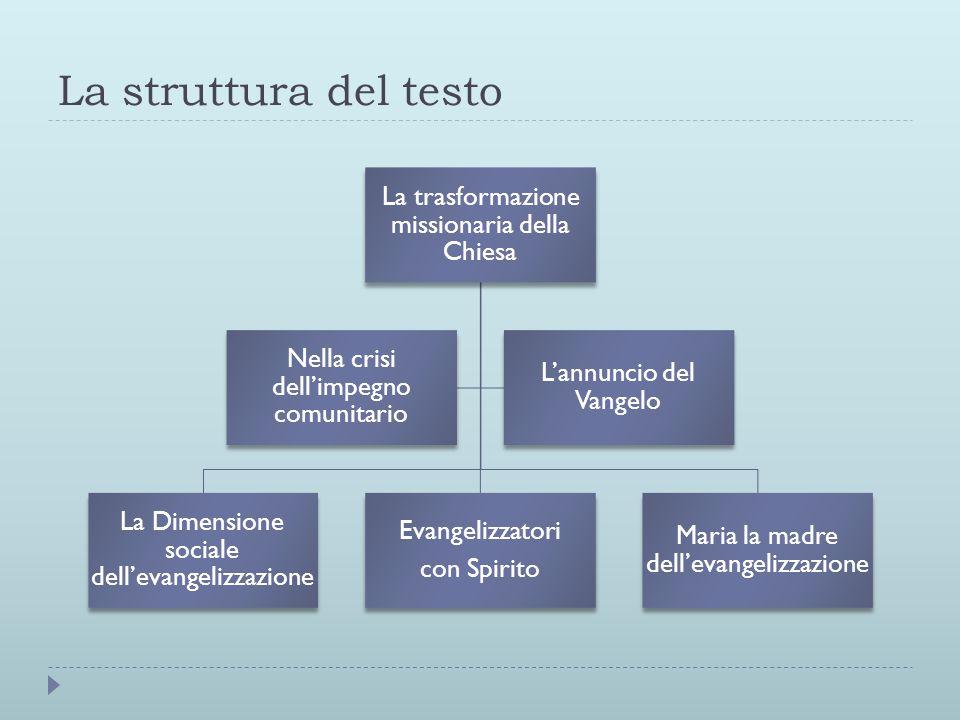 La struttura del testo La trasformazione missionaria della Chiesa