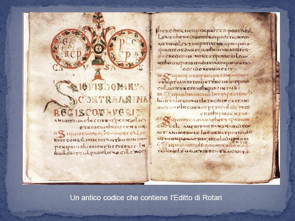 Un antico codice che contiene l'Editto di Rotari