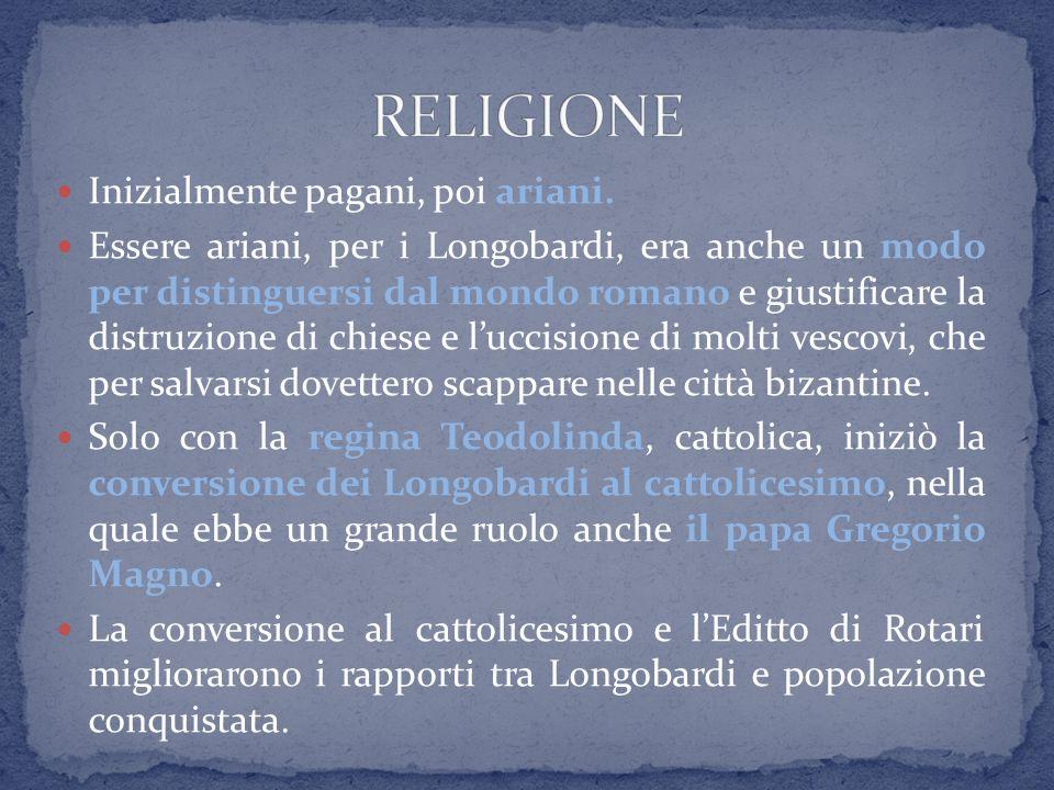 RELIGIONE Inizialmente pagani, poi ariani.