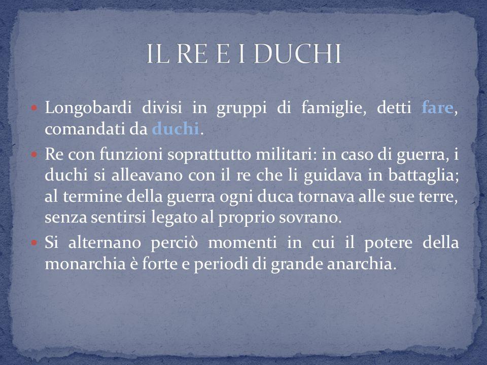 IL RE E I DUCHI Longobardi divisi in gruppi di famiglie, detti fare, comandati da duchi.