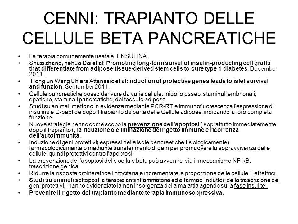 CENNI: TRAPIANTO DELLE CELLULE BETA PANCREATICHE