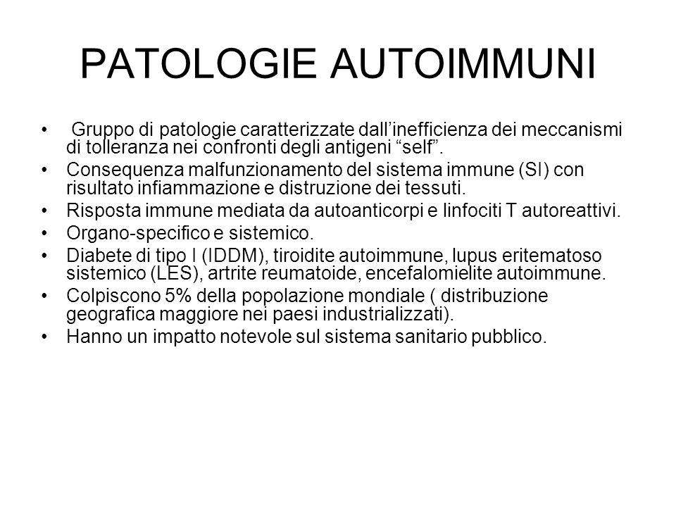 PATOLOGIE AUTOIMMUNI Gruppo di patologie caratterizzate dall'inefficienza dei meccanismi di tolleranza nei confronti degli antigeni self .