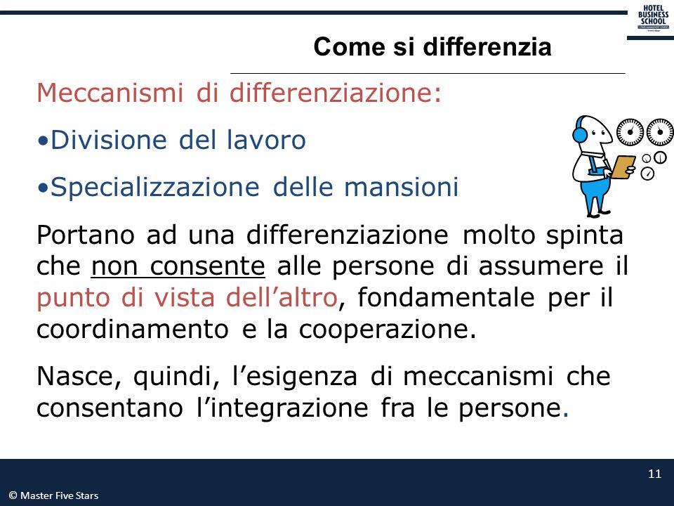 Come si differenzia Meccanismi di differenziazione: Divisione del lavoro. Specializzazione delle mansioni.