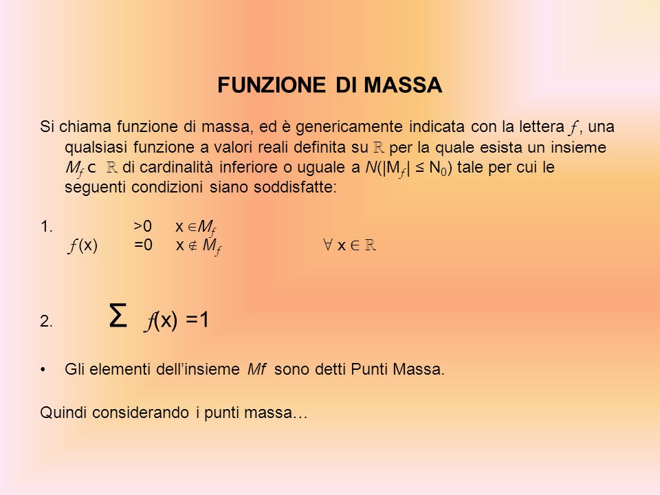FUNZIONE DI MASSA