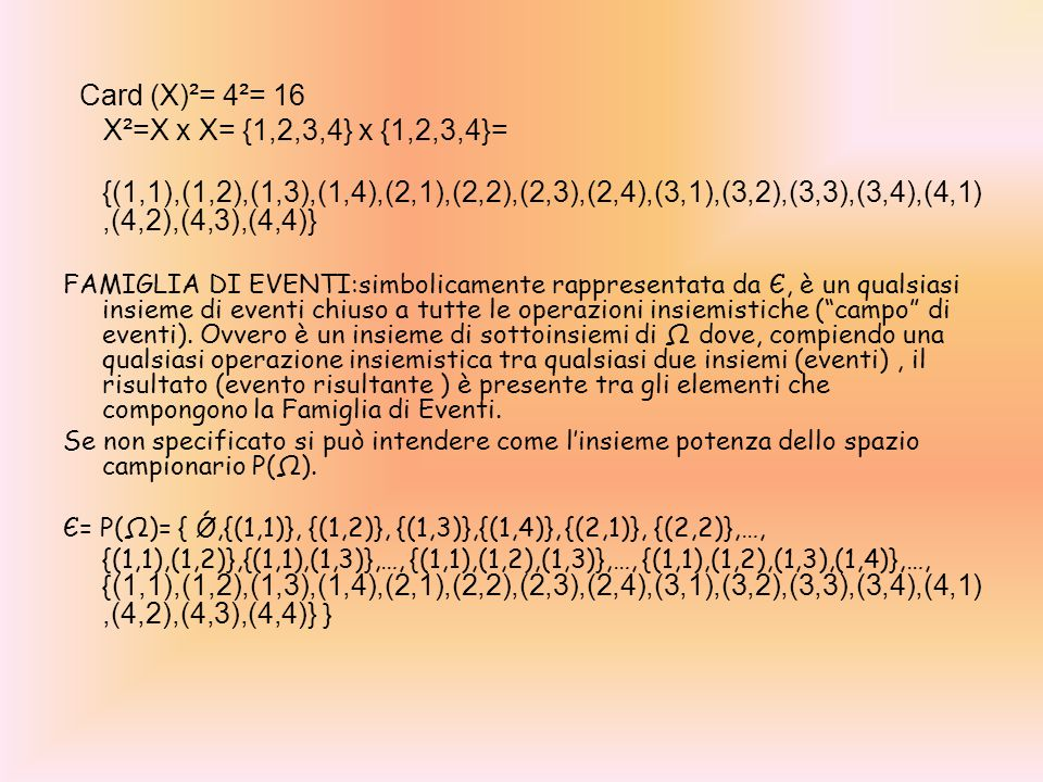 Card (X)²= 4²= 16 X²=X x X= {1,2,3,4} x {1,2,3,4}=