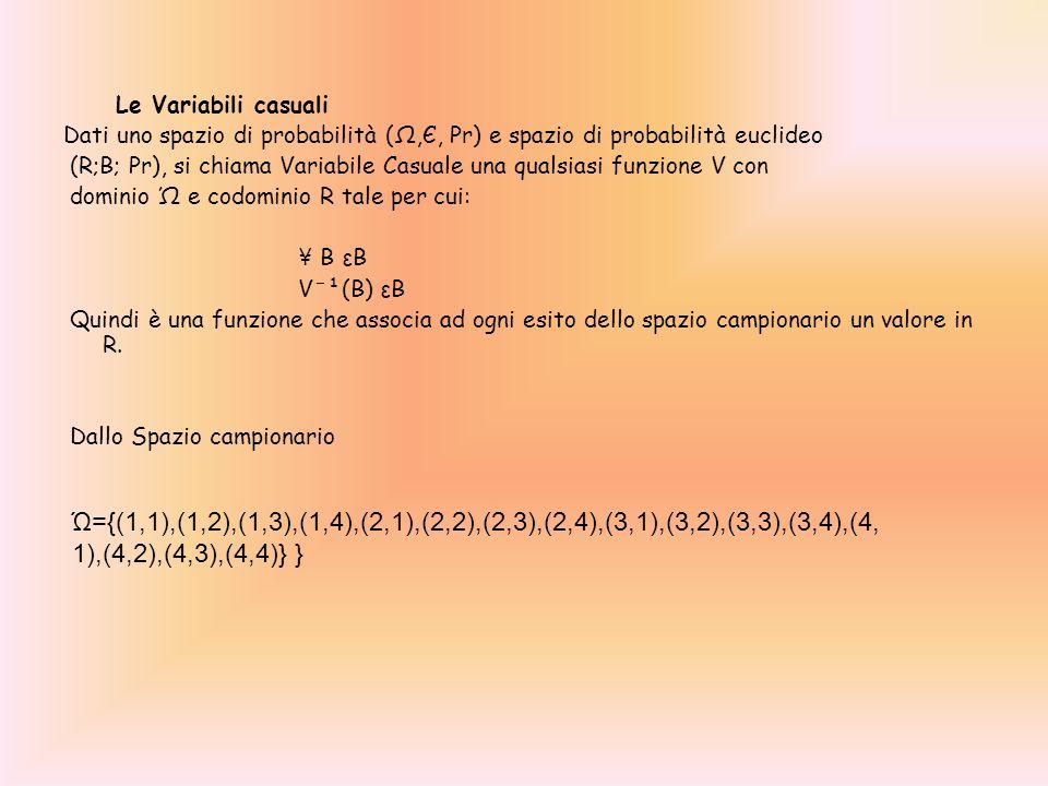 Le Variabili casuali Dati uno spazio di probabilità (Ω,Є, Pr) e spazio di probabilità euclideo.