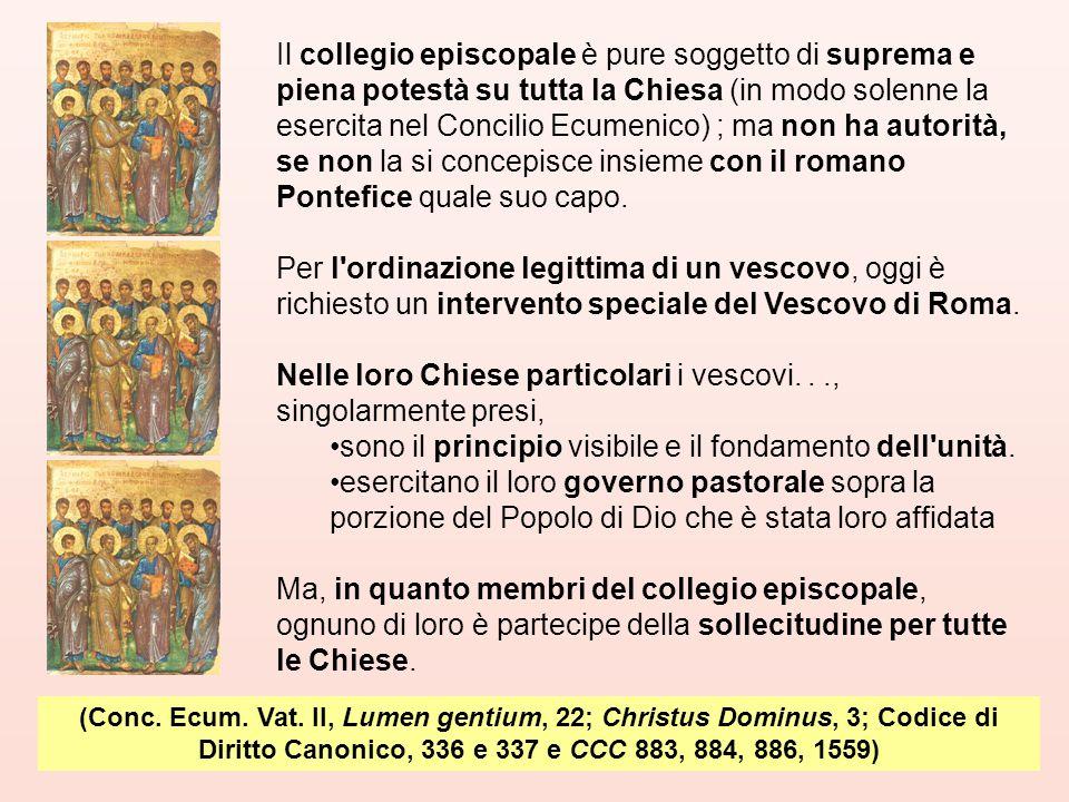 Nelle loro Chiese particolari i vescovi. . ., singolarmente presi,