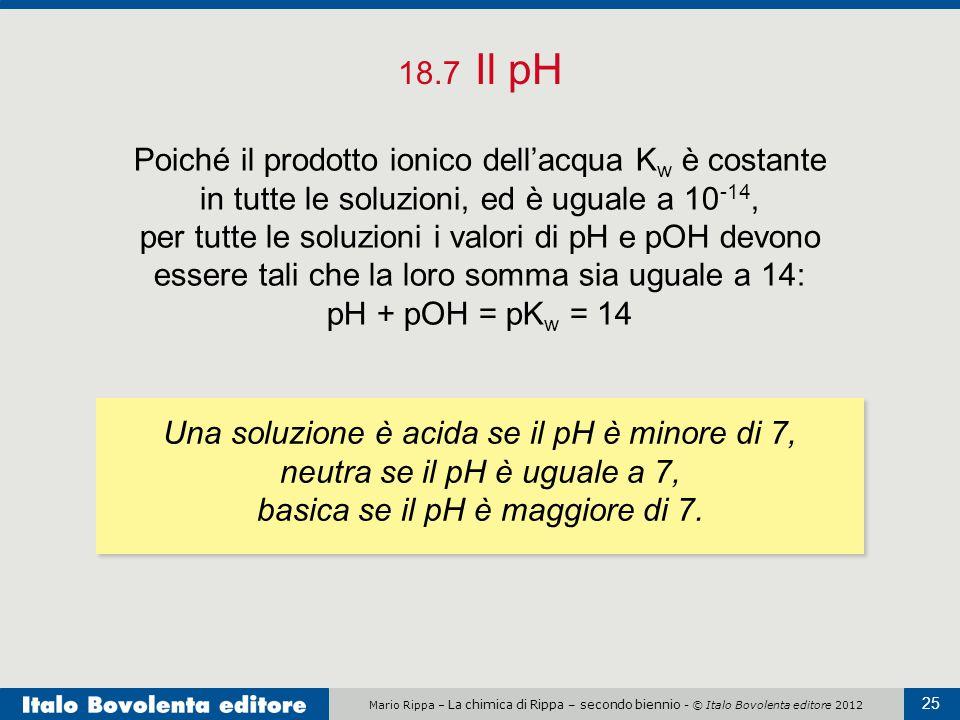 Una soluzione è acida se il pH è minore di 7,