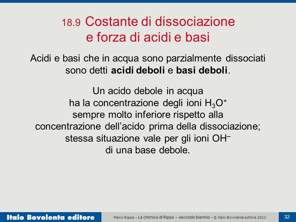 18.9 Costante di dissociazione e forza di acidi e basi