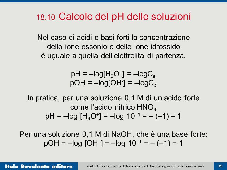 18.10 Calcolo del pH delle soluzioni