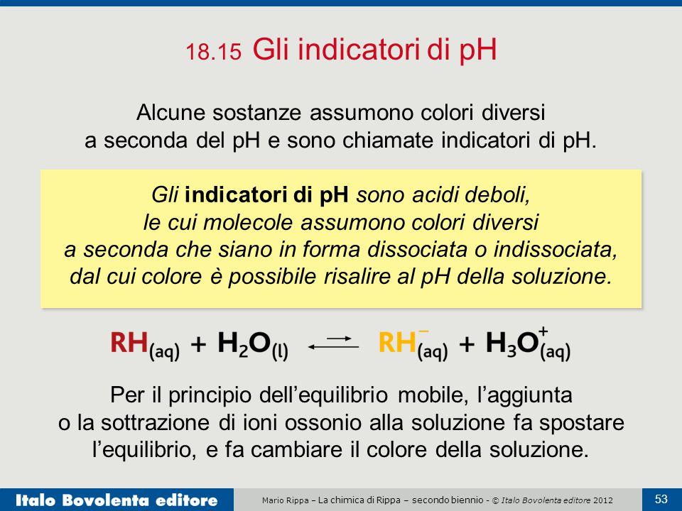 18.15 Gli indicatori di pH Alcune sostanze assumono colori diversi a seconda del pH e sono chiamate indicatori di pH.