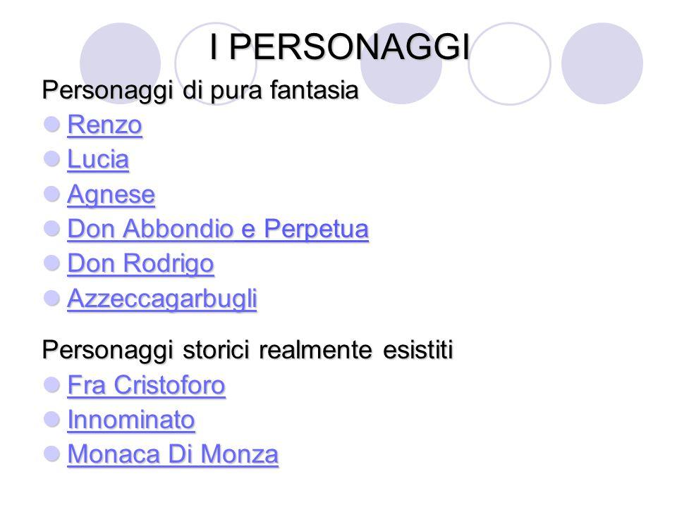 I PERSONAGGI Personaggi di pura fantasia Renzo Lucia Agnese