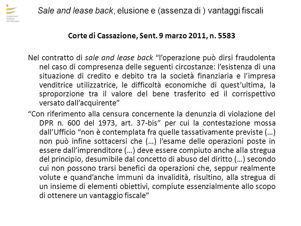 Corte di Cassazione, Sent. 9 marzo 2011, n. 5583