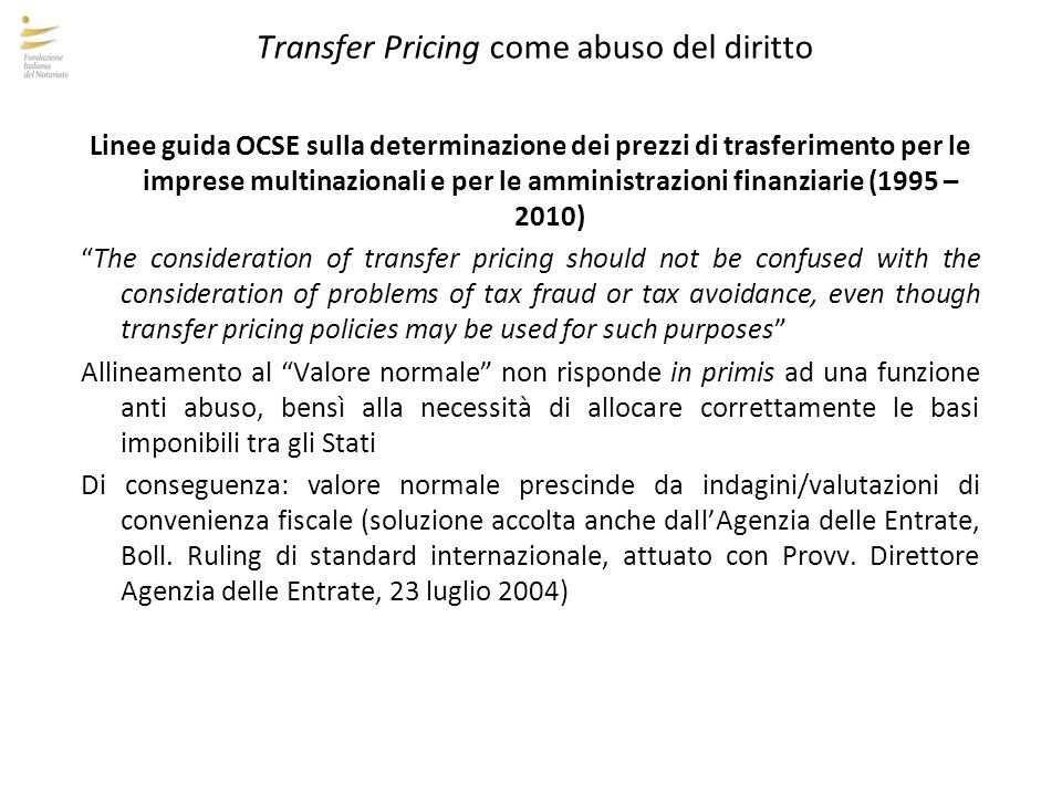 Transfer Pricing come abuso del diritto