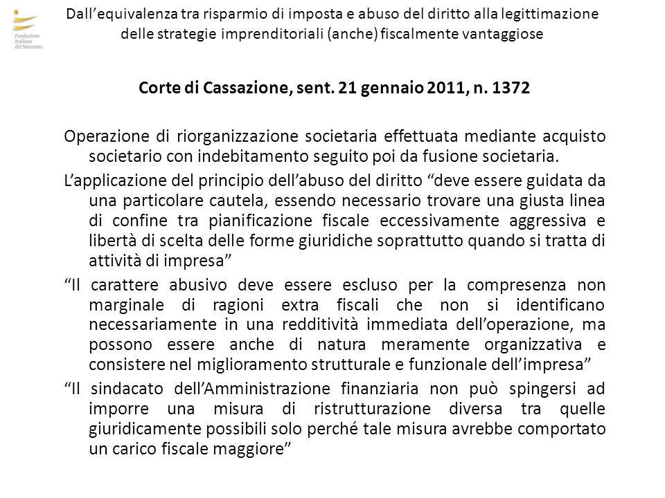 Corte di Cassazione, sent. 21 gennaio 2011, n. 1372