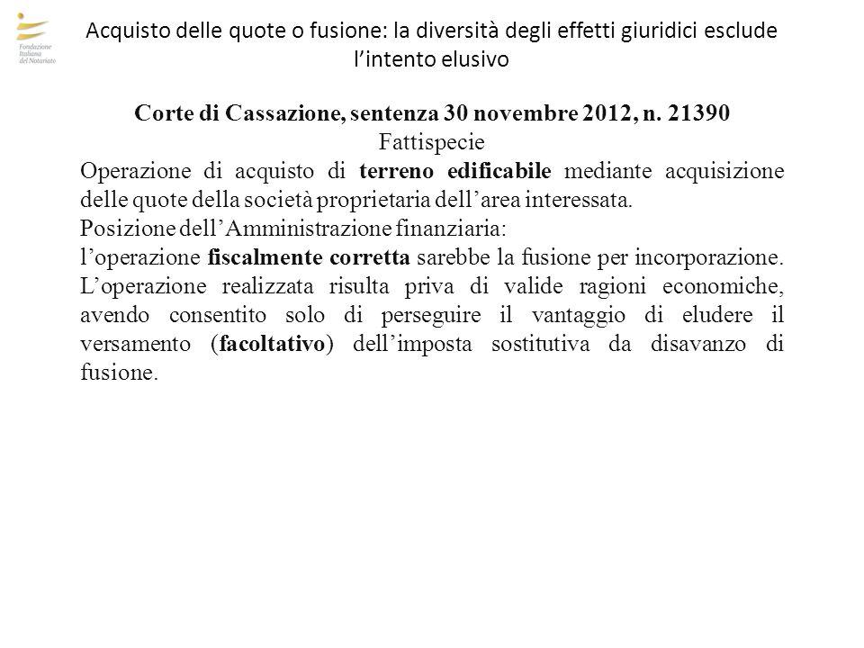 Corte di Cassazione, sentenza 30 novembre 2012, n. 21390
