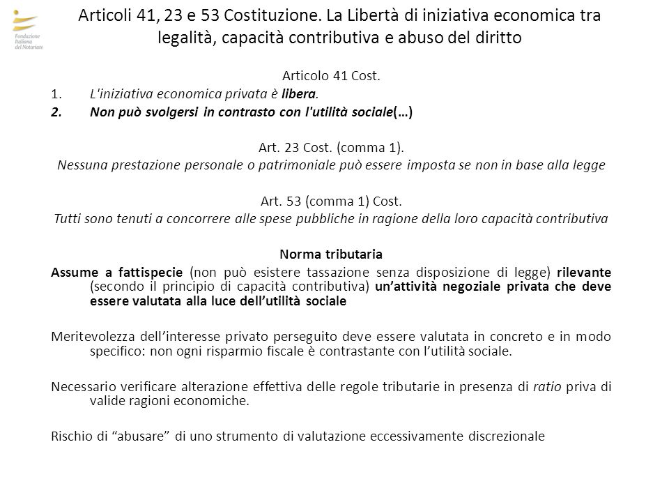 Articoli 41, 23 e 53 Costituzione