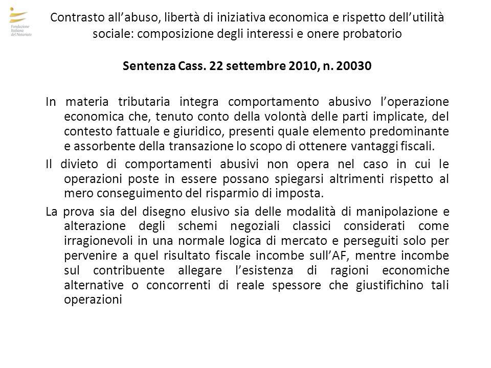 Sentenza Cass. 22 settembre 2010, n. 20030