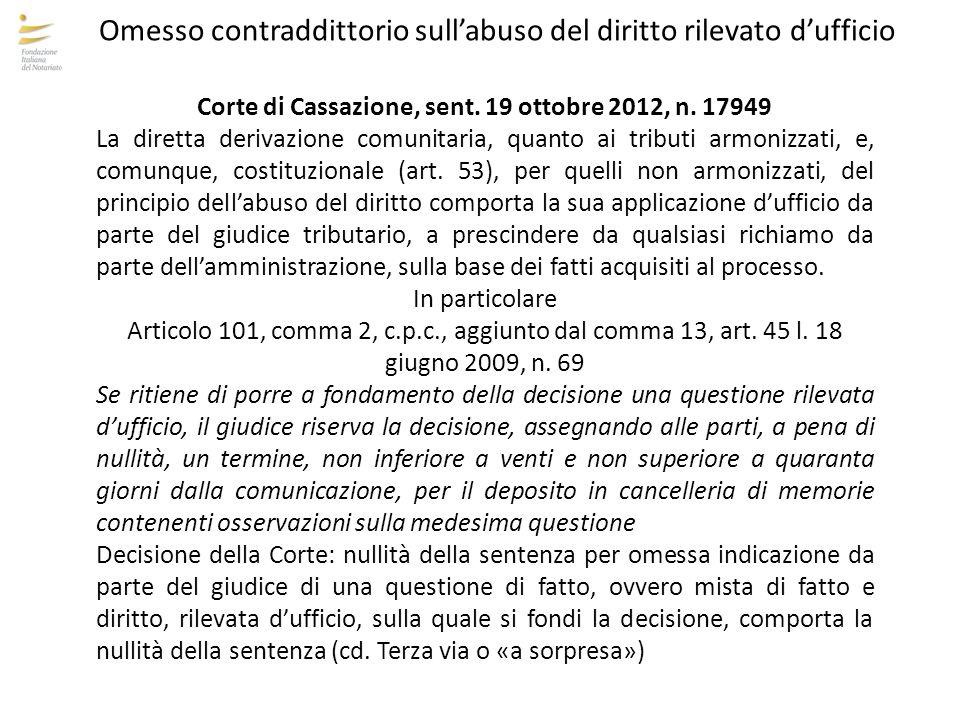 Corte di Cassazione, sent. 19 ottobre 2012, n. 17949