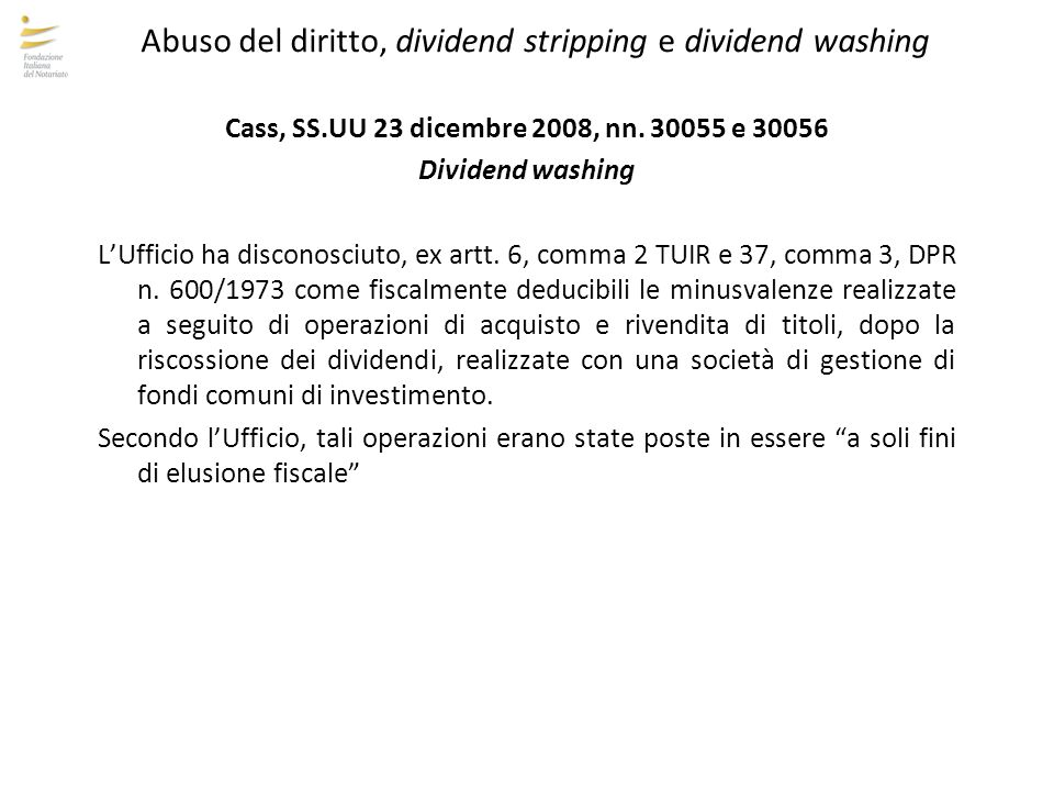 Abuso del diritto, dividend stripping e dividend washing