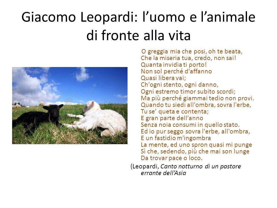 Giacomo Leopardi: l'uomo e l'animale di fronte alla vita
