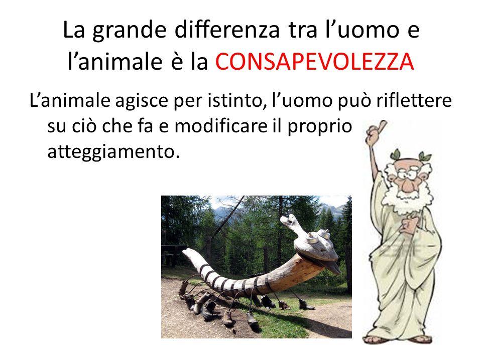 La grande differenza tra l'uomo e l'animale è la CONSAPEVOLEZZA