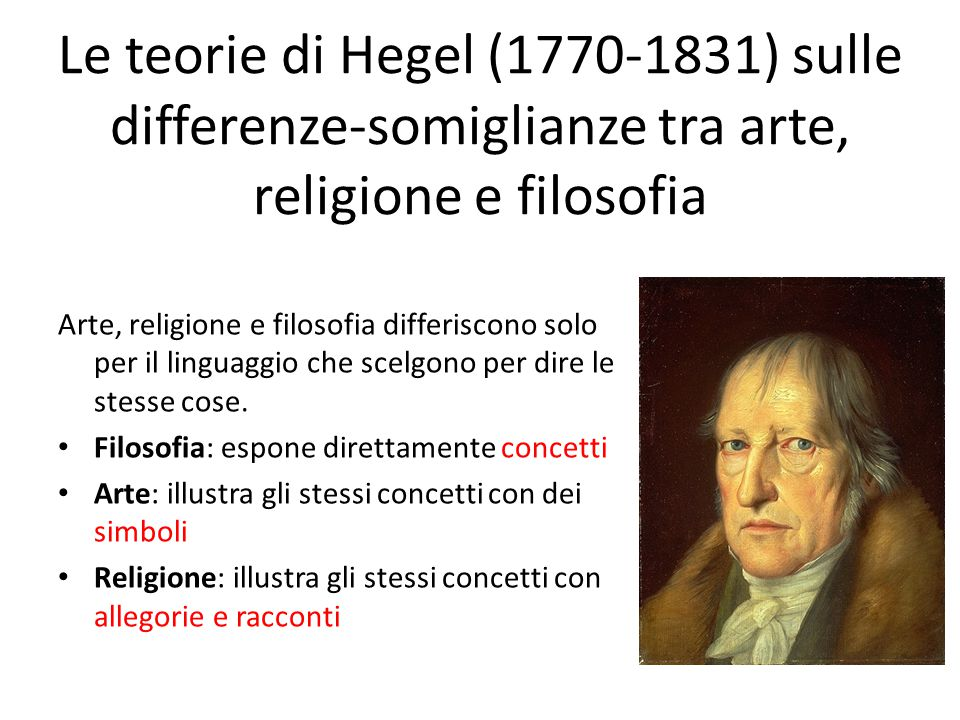 Le teorie di Hegel (1770-1831) sulle differenze-somiglianze tra arte, religione e filosofia