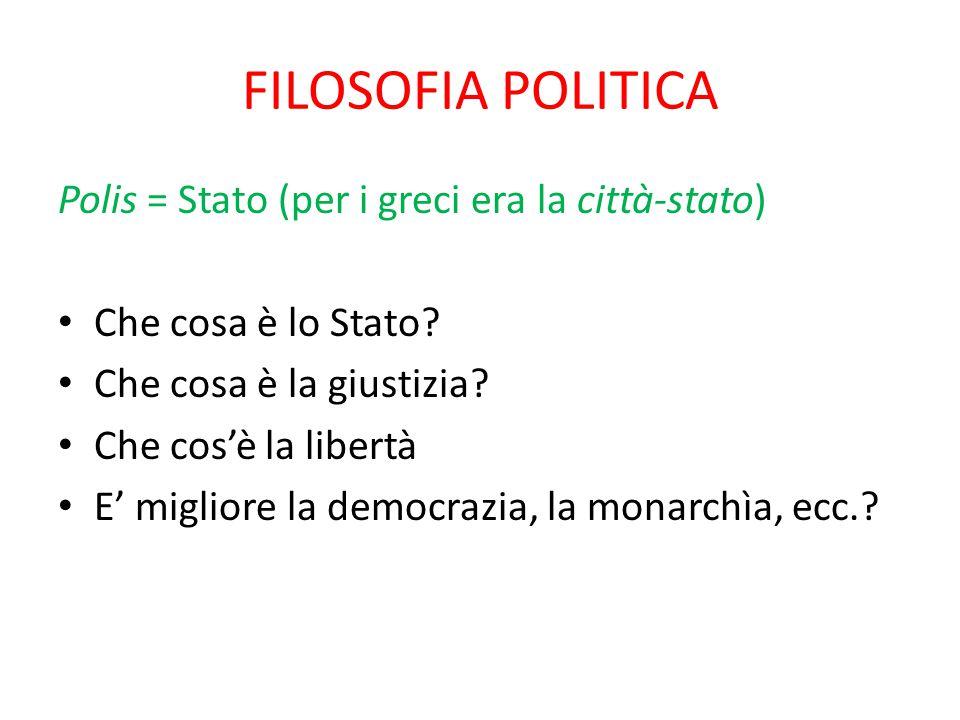 FILOSOFIA POLITICA Polis = Stato (per i greci era la città-stato)