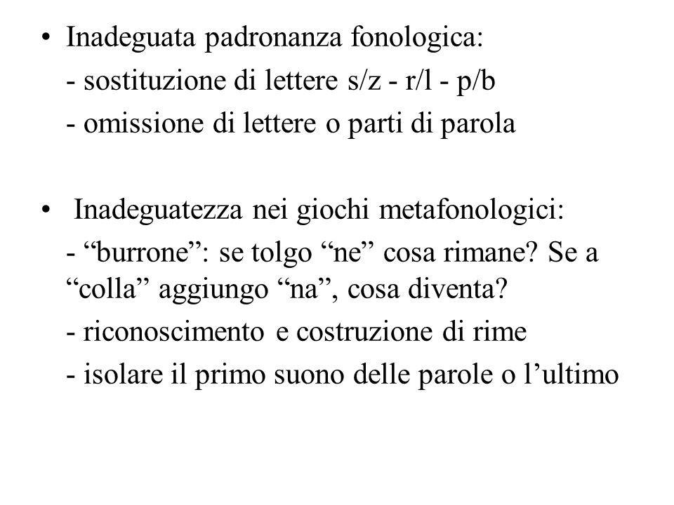 Inadeguata padronanza fonologica: