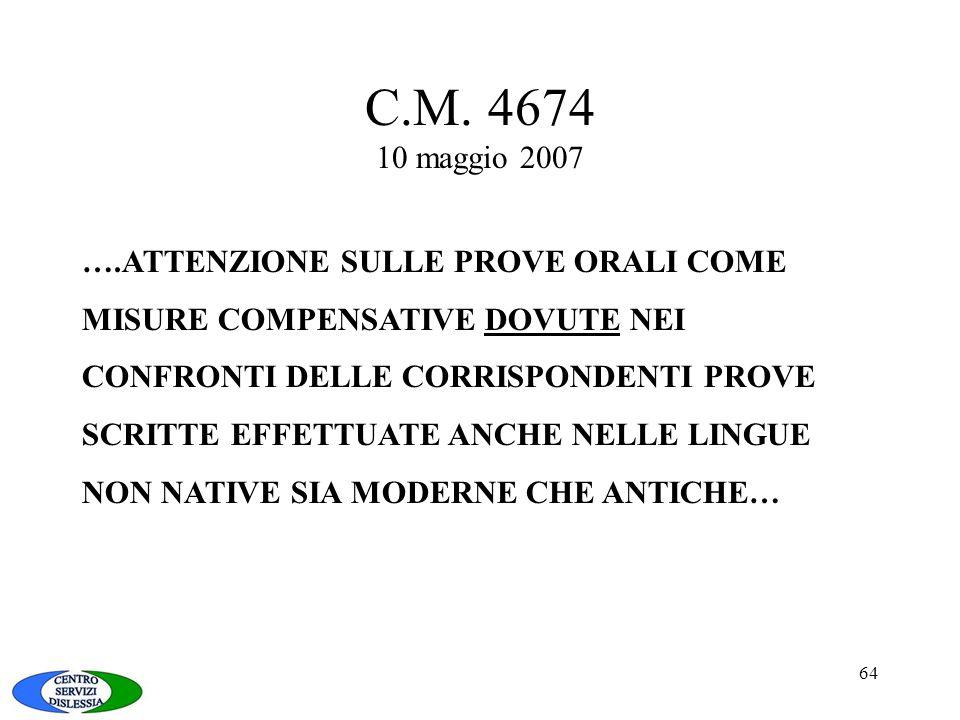 C.M. 4674 10 maggio 2007