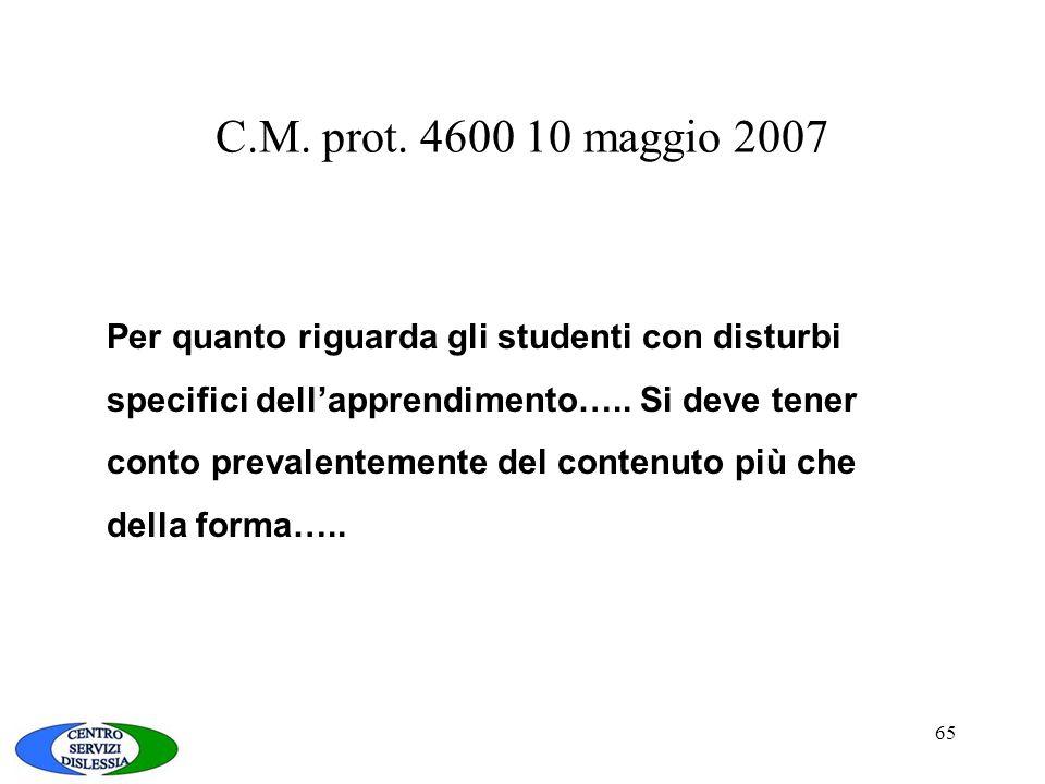 C.M. prot. 4600 10 maggio 2007