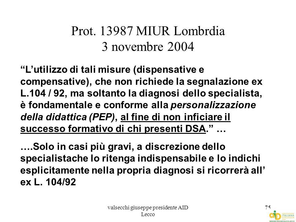 Prot. 13987 MIUR Lombrdia 3 novembre 2004