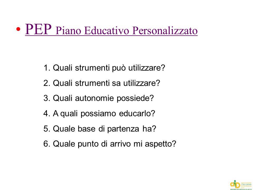 PEP Piano Educativo Personalizzato