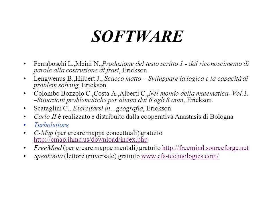 SOFTWARE Ferraboschi L.,Meini N.,Produzione del testo scritto 1 - dal riconoscimento di parole alla costruzione di frasi, Erickson.