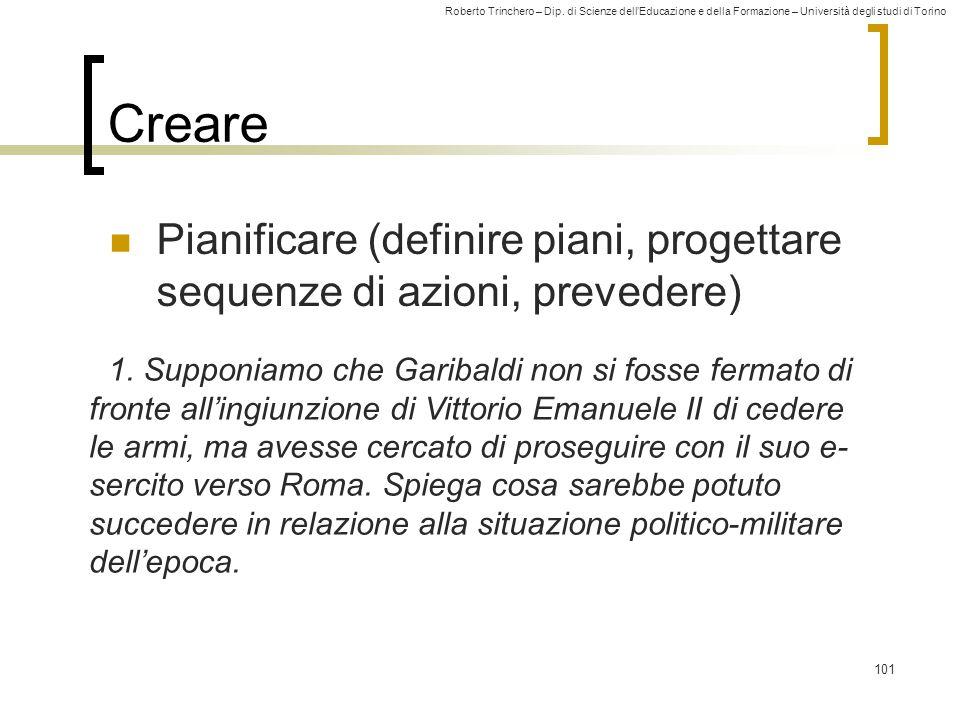 Creare Pianificare (definire piani, progettare sequenze di azioni, prevedere)