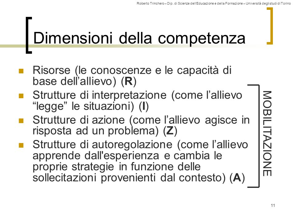 Dimensioni della competenza
