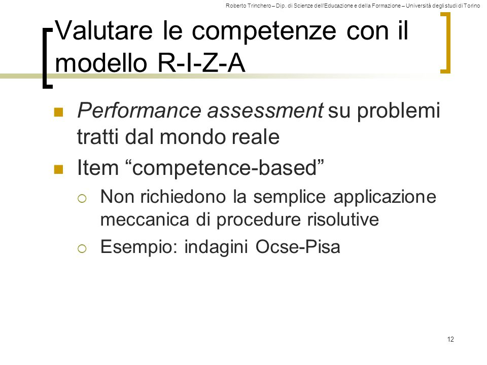 Valutare le competenze con il modello R-I-Z-A
