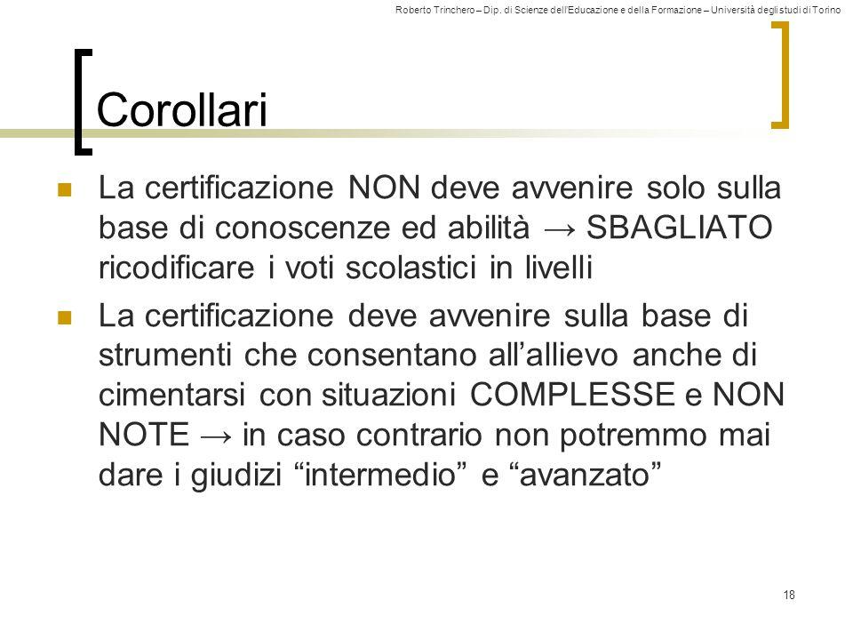 Corollari La certificazione NON deve avvenire solo sulla base di conoscenze ed abilità → SBAGLIATO ricodificare i voti scolastici in livelli.