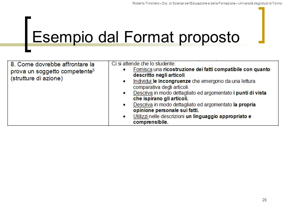 Esempio dal Format proposto