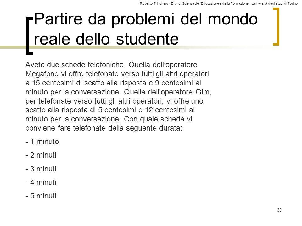 Partire da problemi del mondo reale dello studente