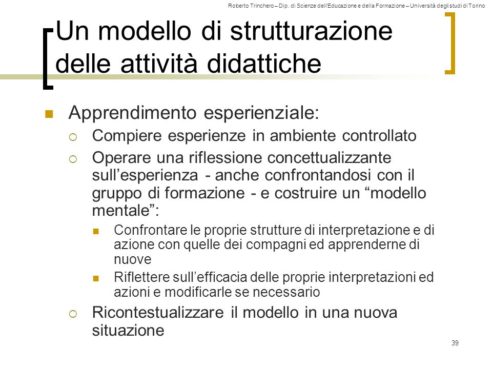 Un modello di strutturazione delle attività didattiche