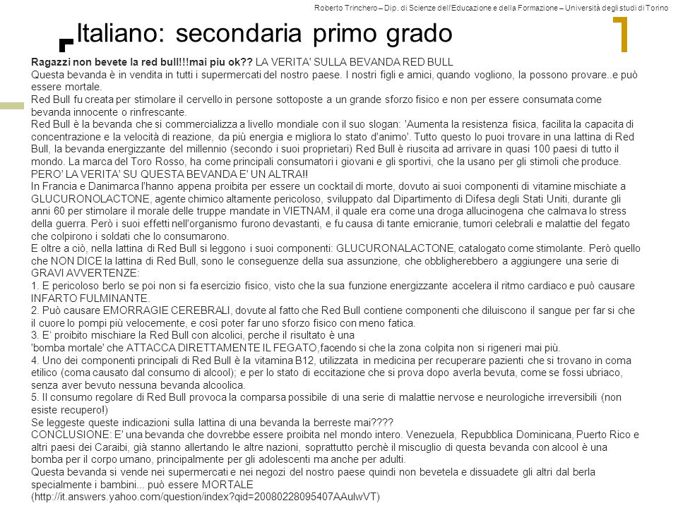 Italiano: secondaria primo grado