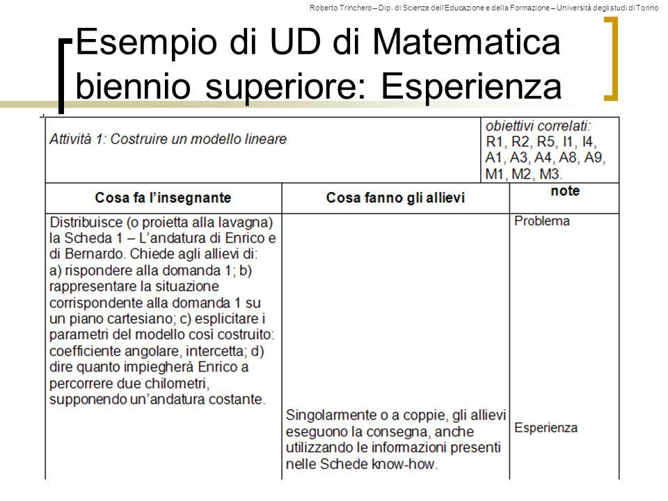 Esempio di UD di Matematica biennio superiore: Esperienza
