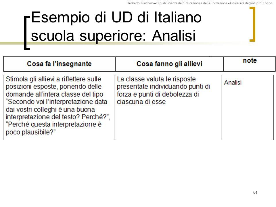 Esempio di UD di Italiano scuola superiore: Analisi