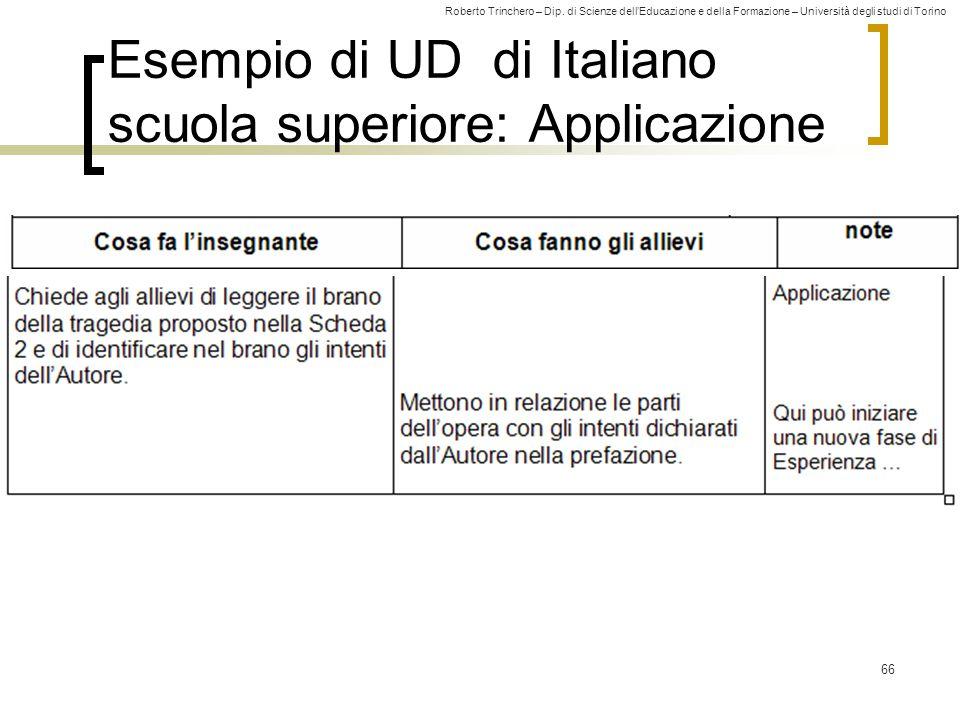 Esempio di UD di Italiano scuola superiore: Applicazione