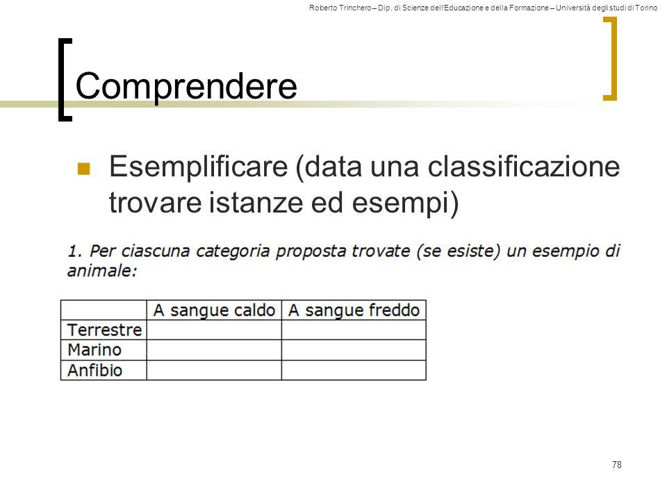 Comprendere Esemplificare (data una classificazione trovare istanze ed esempi)