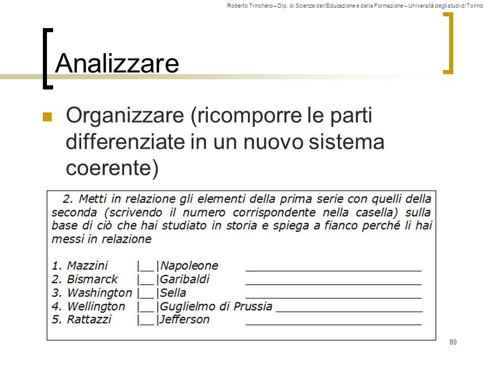 Analizzare Organizzare (ricomporre le parti differenziate in un nuovo sistema coerente)
