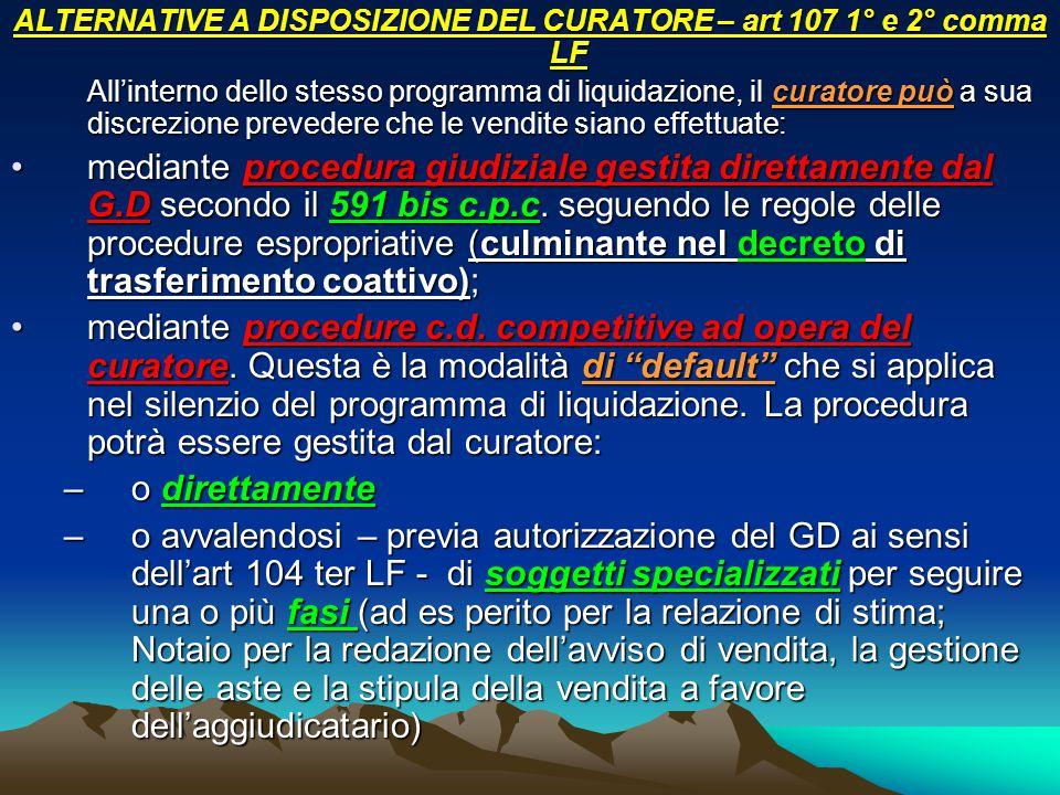 ALTERNATIVE A DISPOSIZIONE DEL CURATORE – art 107 1° e 2° comma LF