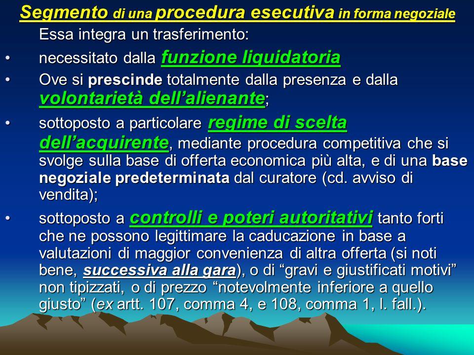Segmento di una procedura esecutiva in forma negoziale