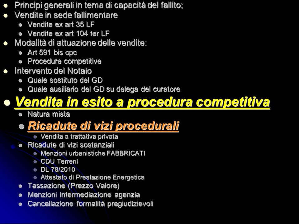 Vendita in esito a procedura competitiva